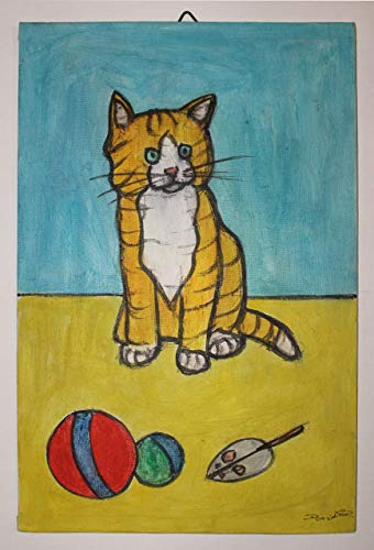 Die Katze- Gemaltes handgemachtes auf Segeltuchbrett, Acryl Aquarelltechnik, Maße cm 20x30x0.3 cm. Hergestellt in Italien, Toskana, Lucca, erstellt von Davide Pacini. -