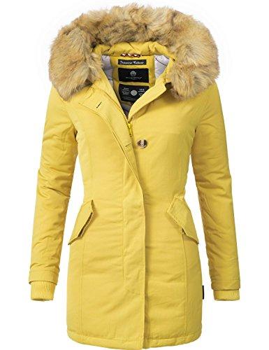 Marikoo Damen Winter Mantel Winterparka Karmaa XS-XXXXXL (vegan hergestellt) Gelb Gr. S (Mantel Damen Wintermantel)