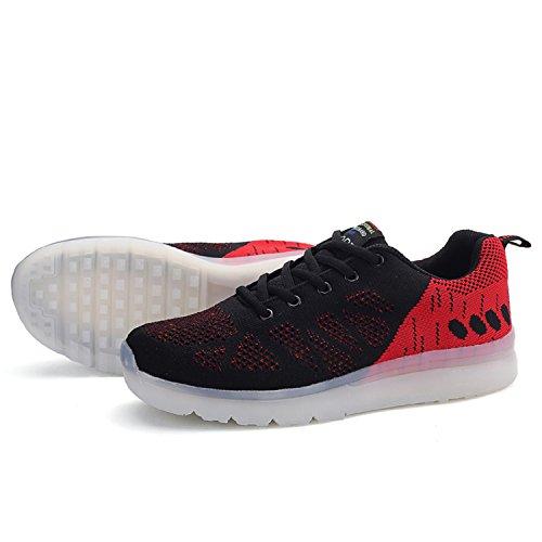 Uomo Traspiranti Scarpe LED 7 Colore USB Carica LED Lampeggiante Luminosi Sneakers Scarpe Sportive Rosso