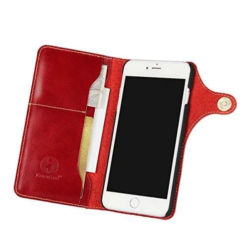 """MOONCASE iPhone 7 Plus Étui, Vintage Housse en PU Cuir à rabat Coque de Protection Folio PC Case avec Dragonne Porte-cartes Fentes Fermeture Bouton pour iPhone 7 Plus 5.5"""" Noir Rouge"""
