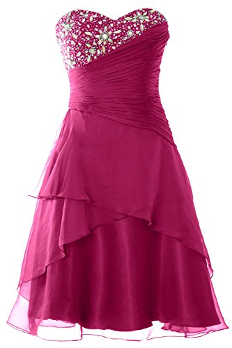 MACloth Women Strapless Short Prom Dress Tiered Cocktail Party Formal Gown Fuchsia