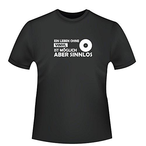 Ein Leben ohne Vinyl ist möglich aber sinnlos, Herren T-Shirt - Fairtrade - ID104688 Schwarz