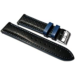 18mm Italian Leather Black / Blue Rally Watch Strap. Calf Lined.