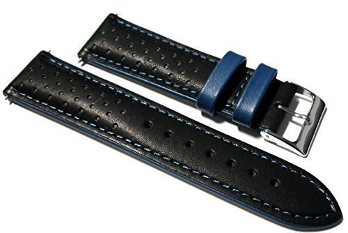 22mm Italian Leather Black / Blue Rally Watch Strap. Calf Lined.