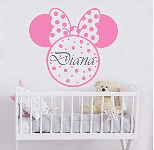 living room wall stickers decorGirl Name Wall Decal Minnie Mouse Wall Sticker Children's Room Kindergarten Decoration Personalized Name Wall Decal Cute Bow Mural Ay1102 57X52Cm (Minnie Speicher)