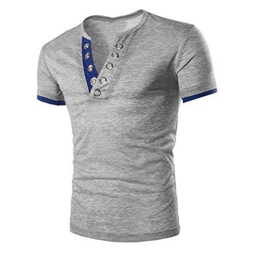 Mode V-Ausschnitt T-Shirt, Amlaiworld Herrent Sommer Cool Patchwork Print Kurzarm T-Shirt (XXL, Grau)