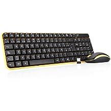 Jelly Comb Pack de teclado y ratón inalámbrico para ordenador de sobremesa /Pack de teclado y ratón inalámbrico 2.4 GHz (QWERTY Español), negro y amarillo