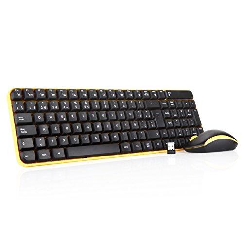 Jelly-Comb-Pack-de-teclado-y-ratn-inalmbrico-para-ordenador-de-sobremesa-Pack-de-teclado-y-ratn-inalmbrico-24-GHz-QWERTY-Espaol-negro-y-amarillo