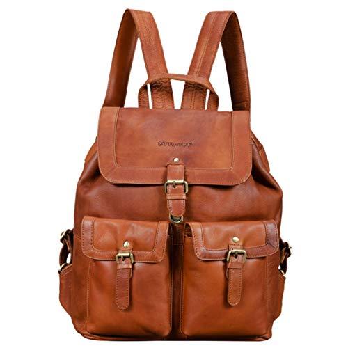STILORD 'Nora' Großer Lederrucksack Damen Vintage Hochwertiger Daypack 15.6 Zoll Rucksack-Handtasche für Schule Uni Freizeit Echtes Leder, Farbe:girona - braun