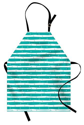 Türkis Schürze, ununterbrochene Anker Ocean Sailor Simplistic Print Sketchy gestreiften Hintergrund, Unisex-Küche Latzschürze mit verstellbarem Hals zum Kochen Backen Gartenarbeit, Türkis ()