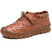 Socofy Mocasines de Mujer EN Cuero, Mocasines de Cuero Planos Para Mujeres Zapatos de Trabajo Casuales Para Mujeres Zapatos Planos Ocasionales cosidos a Mano Para Interior y Exterior