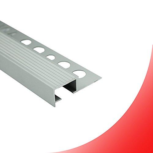 Alu Stufenprofil Fliesenschiene Profil Treppe Schiene L300cm H10mm silber