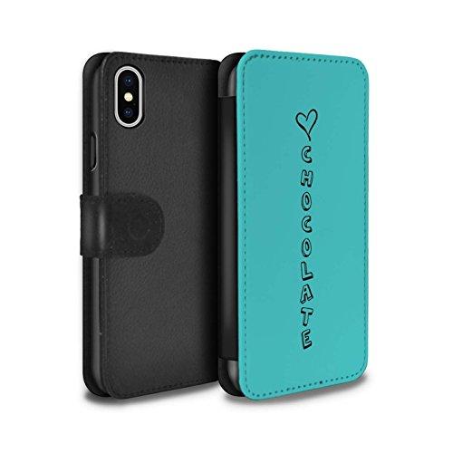 Stuff4 Coque/Etui/Housse Cuir PU Case/Cover pour Apple iPhone X/10 / Rose/Amour Dansant Design / Coeur XOXO Collection Bleu/Amour Chocolat