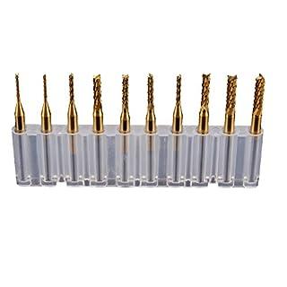 10 Stücke 3,175mm Schaftdurchmesser 1,0 1,5 2,0 2,5 3,0 mm Schneidendurchmesser CNC-Fräser Bit Titanium-Beschichtung
