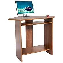 Harima - Mesa Esquinera para Ordenador Mueble Torre Escritorio Oficina Donghai Profesional en color Nogal con estante extraíble para el teclado Inicio PC de escritorio
