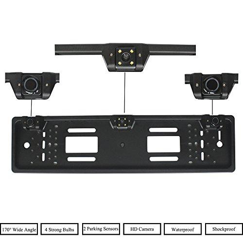 XISEDO Cadre de Plaque d'immatriculation Voiture Européenne Universel Capteur de Stationnement avec Caméra de Recul HD de 170 Degrés à Grand Angle et 2 Capteurs Radar de Recul