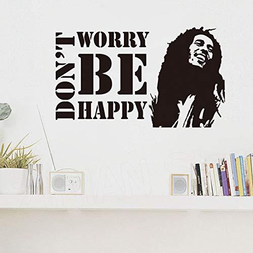 guijiumai Motivation Zitate Mach dir Keine Sorgen Sei glücklich Vinyl Wandaufkleber Für Schlafzimmer Kinderzimmer Bob Marley Musiker Zitat Wandtattoo Wandbild rot 70x42 cm