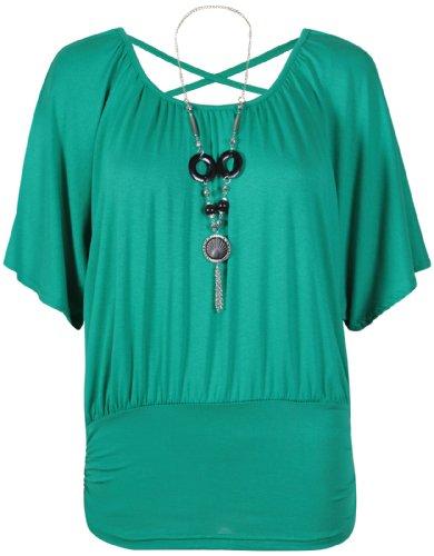 Damen Kurzer Flügelärmel Damen Stretch Rund U-ausschnitt Hinten Über Kreuz Perlenbesetzte Halskette T-Shirt Top Jadegrün