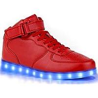 Myroads Unisex Adulto High-top 7 Colore USB Carica LED Lampeggiante Luminosi Sneakers Sportive per esterno Partito Scarpe ( Rosso EU 36 )