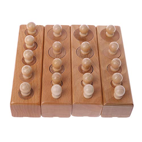 ZOUCY Pädagogisches Babyspielzeug, 1 Satz Holzzylinder Montessori Sockel Blöcke Spielzeug Für Baby Pädagogische Entwicklungspraxis Senses (Block Sockel)