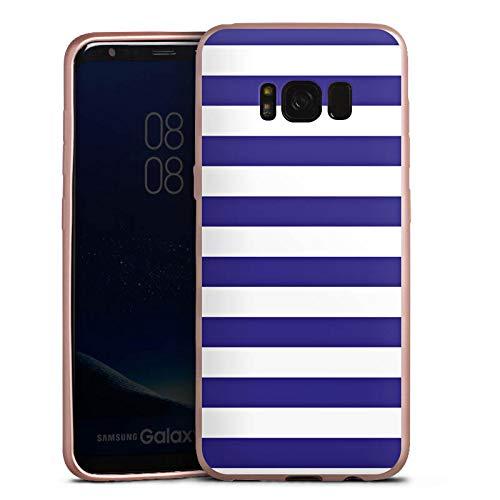 DeinDesign Silikon Hülle Rosé Gold Case Schutzhülle kompatibel mit Samsung Galaxy S8 Marine Weiss Blau Streifen