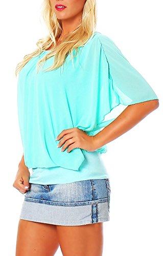 malito Damen Bluse im Fledermaus Look | Tunika mit Rundhals und breitem Bund | Blusenshirt kurzarm | Elegant �?Shirt 6296 Türkis