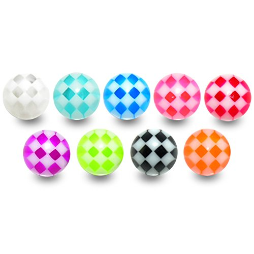 Lot de 10 pièces (5paires) Boule acrylique collection Carreaux en UV Couleurs mixtes.