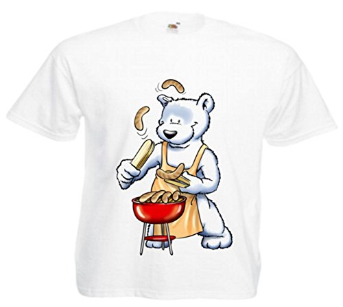 Motiv Fun T-Shirt Bär beim Grillen Moves Musik Rock Dance Hardroc Motiv Nr. 3952 Weiß