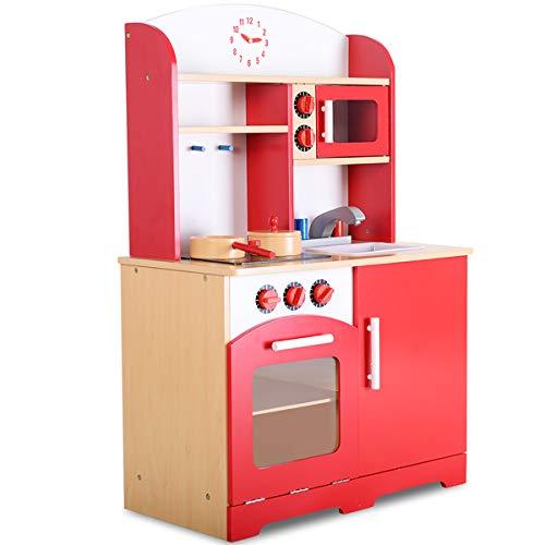 COSTWAY Kinderküche Spielküche Holz Kinderspielküche Holzküche Spielzeugküche Spielzeug Küche