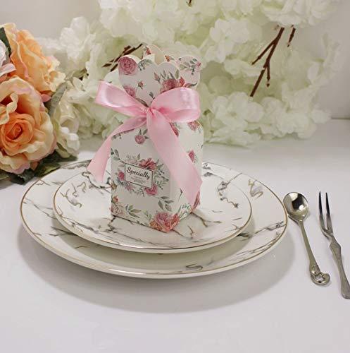 Flowow 50pcs stile vaso fiore floreale scatola portaconfetti scatolina portariso bomboniera segnaposto per matrimonio compleanno battesimo comunione nascita natale