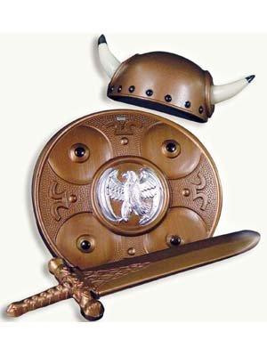rset 3tlg Helm,Schwert,Brustschutz (Wikinger-hut-bart)