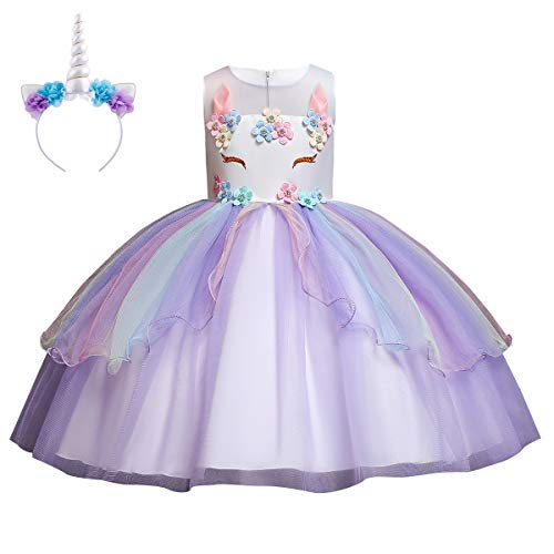 IWEMEK Mädchen Einhorn Kleid Stirnband Karneval Halloween Kostüm Cosplay Fancy Dress up Kinder Tüll Tutu Blumenmädchen Kleid Geburtstag Weihnachten Party Festzug Ankleiden Lila 9-10 Jahre (Festzug Fancy Dress Kostüm)