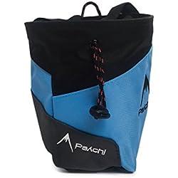 Bolsa de tiza Psychi Premium para escalada en roca con bolsillo trasero con cremallera y cinturón de cintura, azul