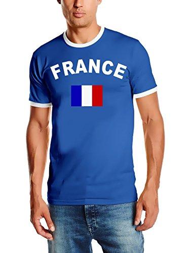 Frankreich T-Shirt Ringer Blau, Gr.M