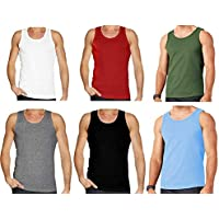 Mens Plain Vest Multi Pack Lot Basic Regular Fitted Cotton Tank Top Athletic Soft Assorted (Pack of 6)