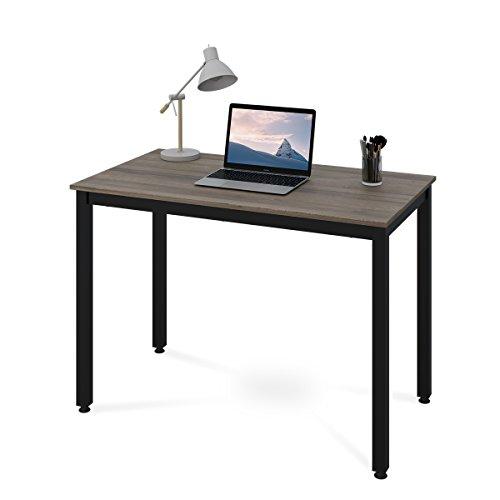 DEVAISE Holz Bürotisch Schreibtisch Computertisch PC Tisch Konferenztisch mit Metallbeinen, 107cm L...
