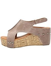 ce592220cc9 Lolittas Summer Gladiator Wedge Heel Sandals for Women Ladies
