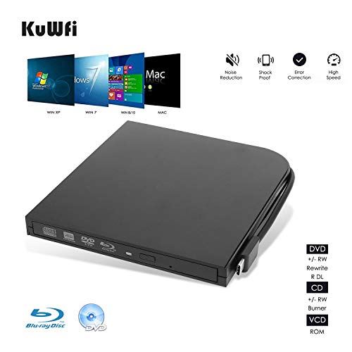 KuWFi External Blu Ray Burner, USB3.0 Type-C Dual Interfaces Portable Slim Automatic slot-loading CD/DVD-RAM/BD-ROM…