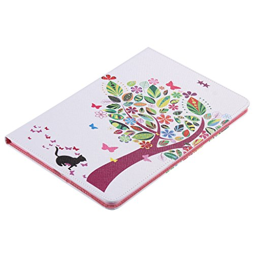Fatcatparadise (TM), cover per iPad Pro 9,7, antigraffio, con custodia posteriore in morbido silicone, modello colorato di alta qualità, design rétro, magnetico, in pelle sintetica premium, porta car Cat and tree
