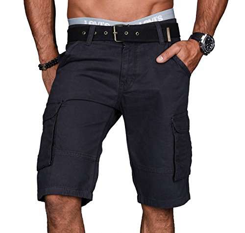 Alessandro Salvarini A.Salvarini Stylische Herren Cargo Short inkl. Gürtel Sommer Bermuda Kurze Hose Army Shorts AS-037 [AS037 - Anthrazit - W29]
