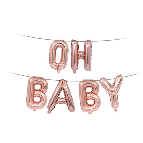 ftballons, Aluminium Buchstabe Luftballons Girl Boy Baby Dusche Mylar Dekorationen 6, rose gold, 20*20*1cm (Baby-dusche Boy Dekorationen)