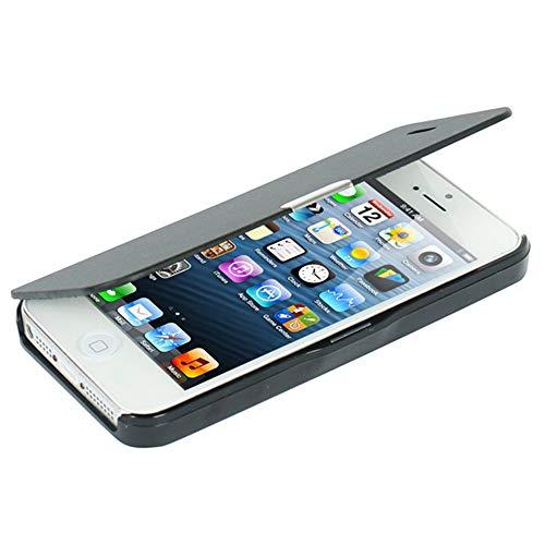 MTRONX für iPhone SE Hülle, iPhone 5s Hülle, iPhone 5 Hülle, Magnetisch Dünn Leder Folio Flip Klapphülle Etui Schutzhülle Tasche Case Cover für Apple iPhone SE, iPhone 5s, iPhone 5 - Schwarz(MG-BK) (Folio Case Für Iphone 5s)