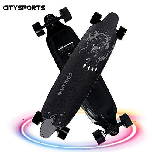 Elektrisches Skateboard, Longboard mit 4 Rädern, elektrischer Roller mit Fernbedienung, einstellbarer 2-Gang-Modus