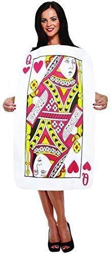Damen oder Herren König Königin der Herzen Alice im Wunderland spielen Karten Deck Poker Junggesellinnenabschied Kostüm Kleid Outfit - Damen, One Size fits (Königin Karte Kostüme Herz Der)