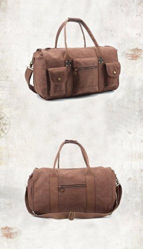 E-Bestar Unisex Schultertasche Canvas Vintage Handtasche Canvas Leder Retro Reisetasche Vintage Canvas Tasche Herren Handgepäck (Armee Grün) Kaffee (klein)