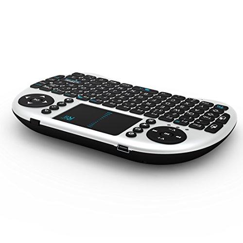 Rii i8 2.4GHz Wireless Kabellose Mini Tastatur (92 Keys DE QWERTZ)Ergonomische mit Touchpad-Maus und Ersatz Wiederaufladbare Li-ion Batterie für Smart TV, Raspberry Pi,Mini PC, HTPC, Computer und Konsolenspiele MacOS,Linux, Android,XBMC,Windows 2000 XP Vista 7 8 (Rii i8 Weiß) - 3