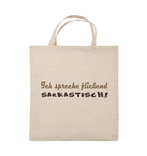 Comedy Bags - Ich spreche fließend Sarkastisch! - Jutebeutel - kurze Henkel - 38x42cm - Farbe: Schwarz / Weiss-Neongrün Natural / Hellbraun-Dunkelbraun