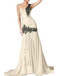 ivyd ressing Mujer de un hombro hezr Forma applikation sirena estilo gasa largo promkled Ball vestido para vestido de noche