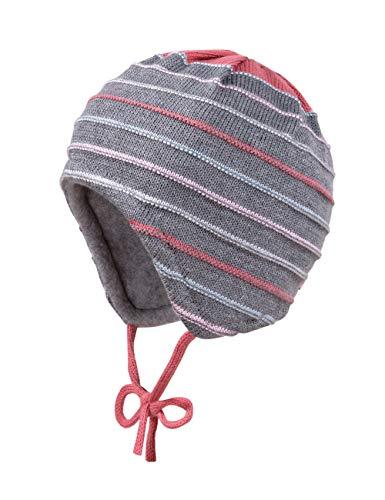 maximo Baby-Mädchen aus Linksgestrick mit Ringel und Bindeband Mütze, Mehrfarbig (Mittelgraumeliert/Wüstenrose 4984), (Herstellergröße: 43)