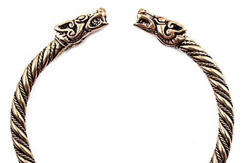 Windalf Großer Unisex Vintage Vikings Armreif DRACON Ø 7 cm Bohemia Ethno Drachen Armschmuck Handgearbeitet aus hochwertige Bronze